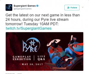 Supergiant Games Tweet