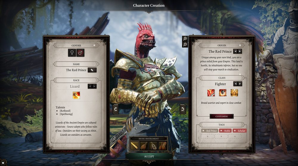 Divinity Original Sin 2 character creation Lizard