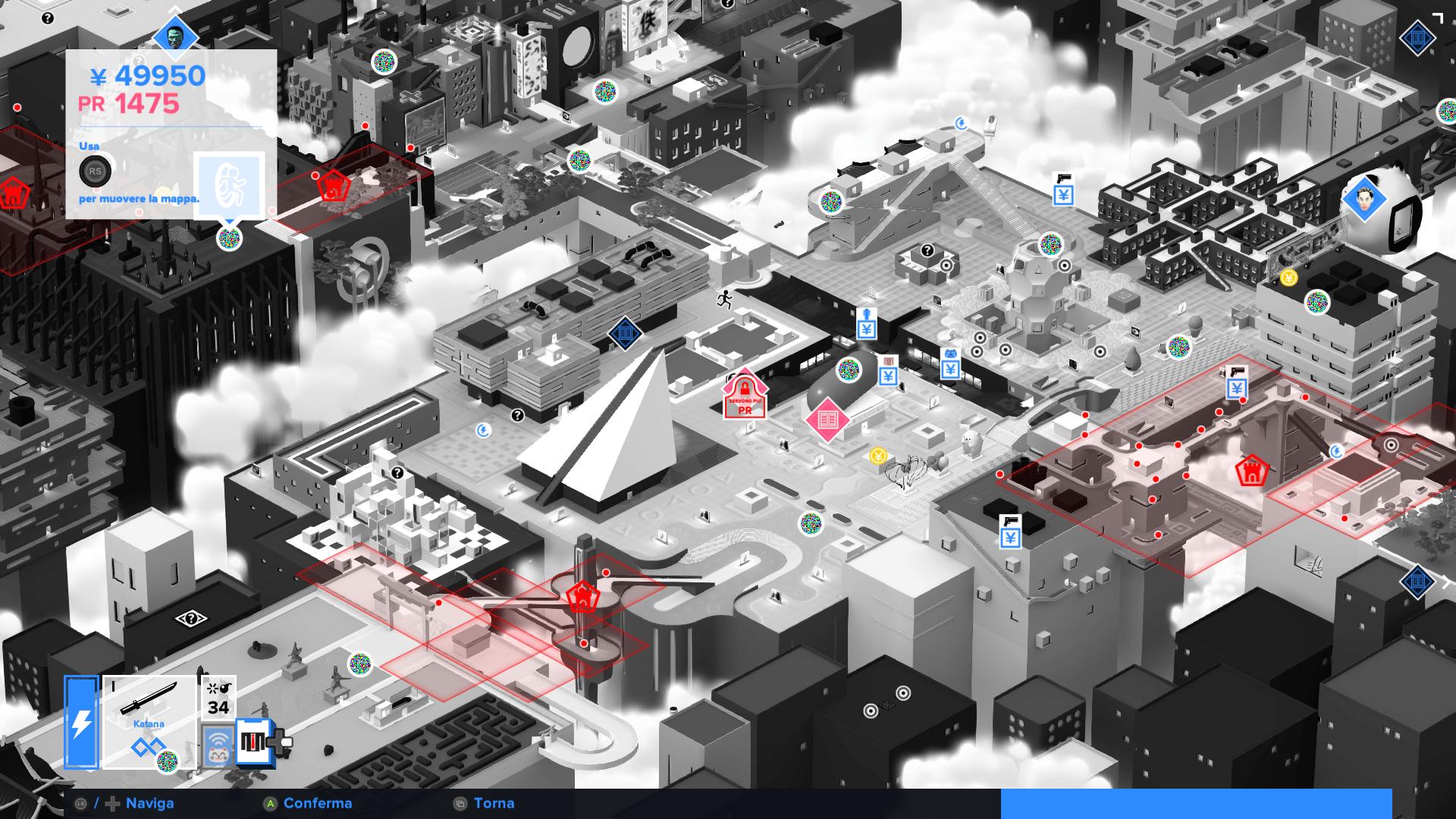Tokyo 42 - La mappa è il nostro punto di accesso al mondo, e semplificherà di molto gli spostamenti, aiutandoci anche ad individuare punti di interesse grazie a delle semplicissime icone.