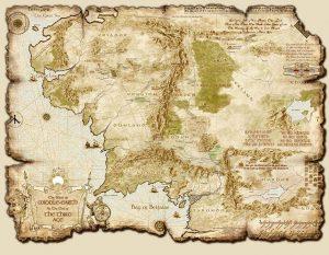 Mappa Terra di Mezzo in un ipotetico gioco di ruolo