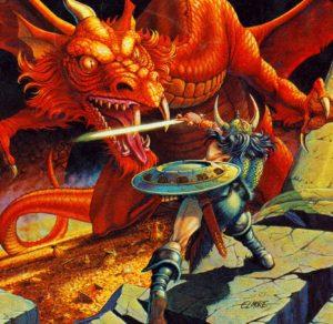 Battaglia contro il drago in una tipica avventura di gioco di ruolo
