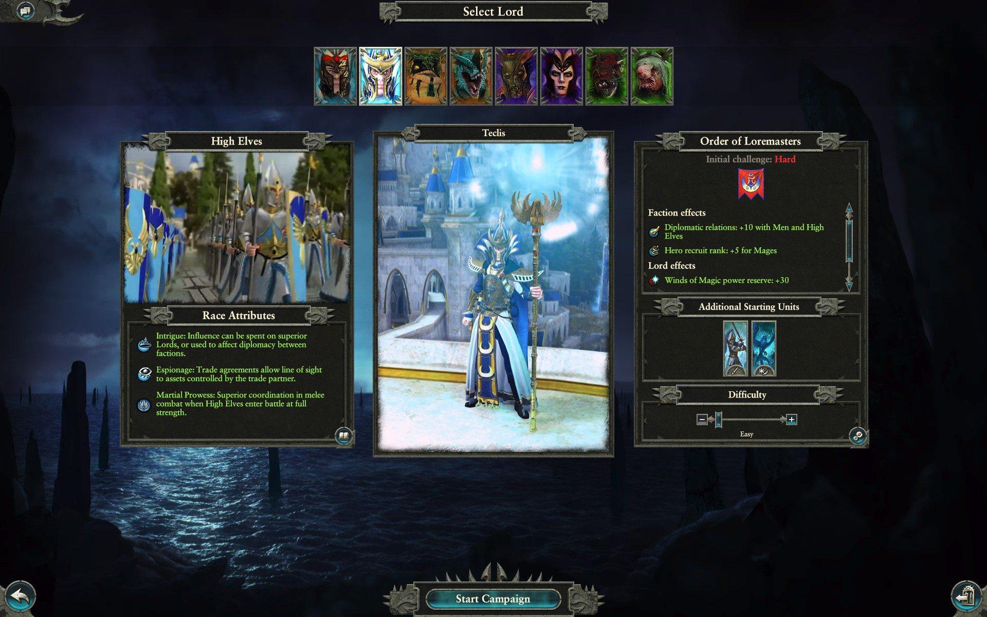Warhammer 2 total war scelta lord