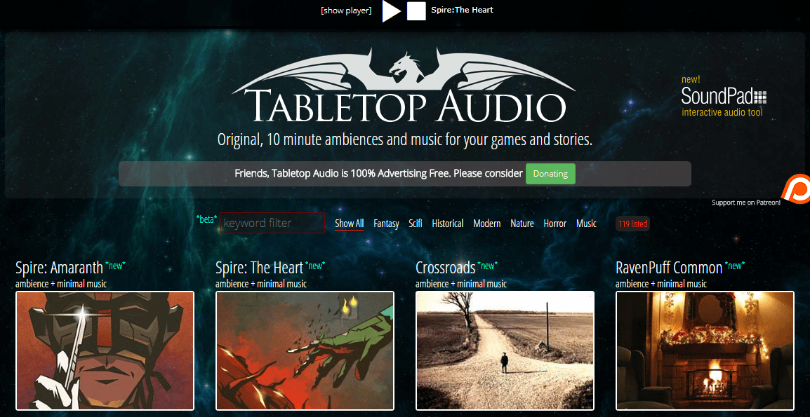 tabletop audio colonne sonore per gioco di ruolo