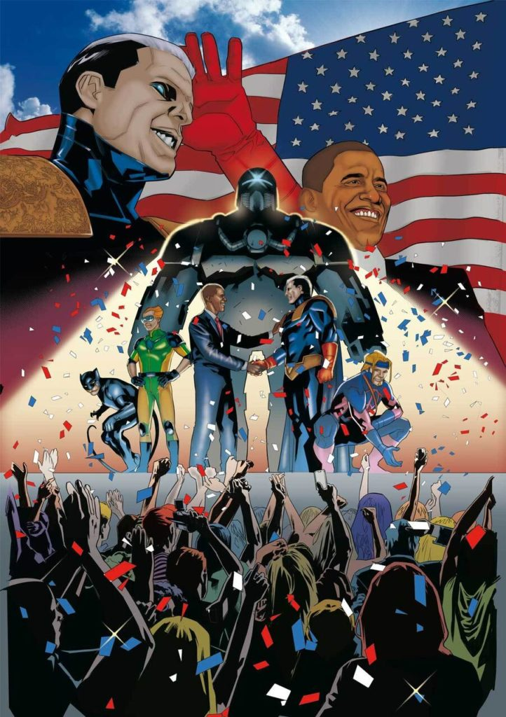 #Urban Heroes Amazing Men Of America - Giuramento Obama - prima formazione - Captain Amazing - The Cleric - Claws - Captain Amazing