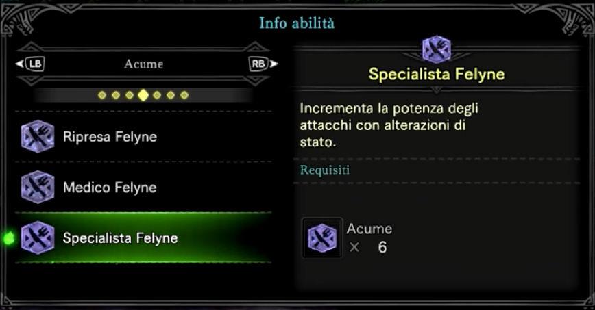Monster Hunter - Cibo - Food - Mensa - Status - Attacco - MHW - Guida - Abilità - Felyne - Acume