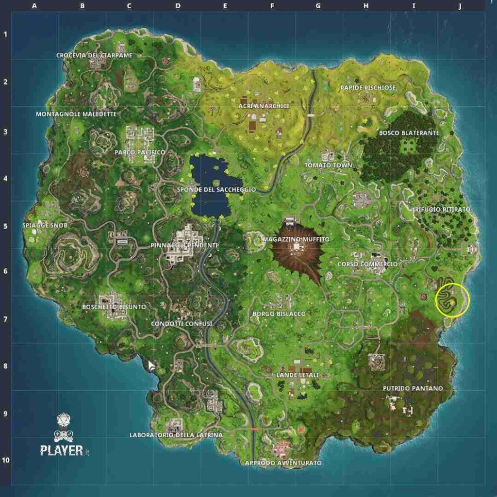 Fortnite mappa del tesoro borgo bislacco settimana 3 stagione 4