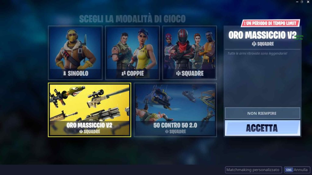 Fortnite oro massiccio