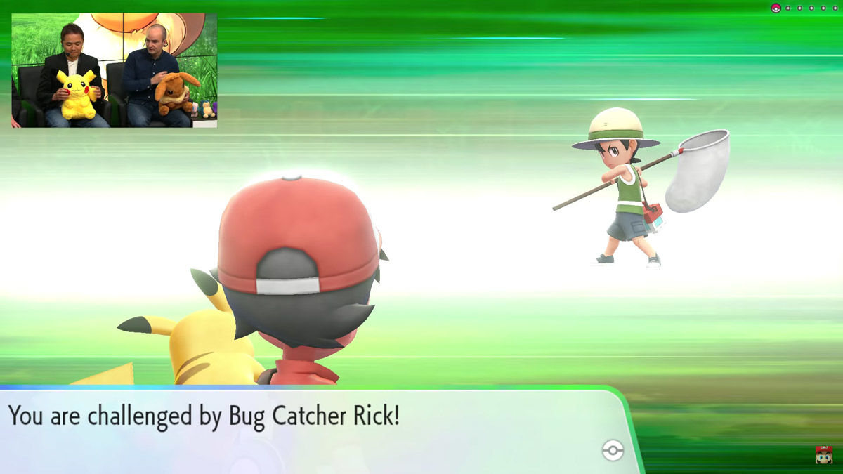 Pokémon - pokemon - pokèmon - leys go- Let's Go - Pikachu - Eevee - Nintendo - E3 - Masuda - pigliamosche - bug catcher - battaglia - battle