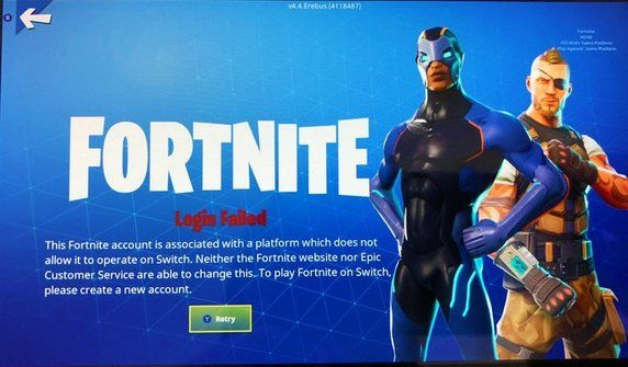 Fortnite Switch Error message