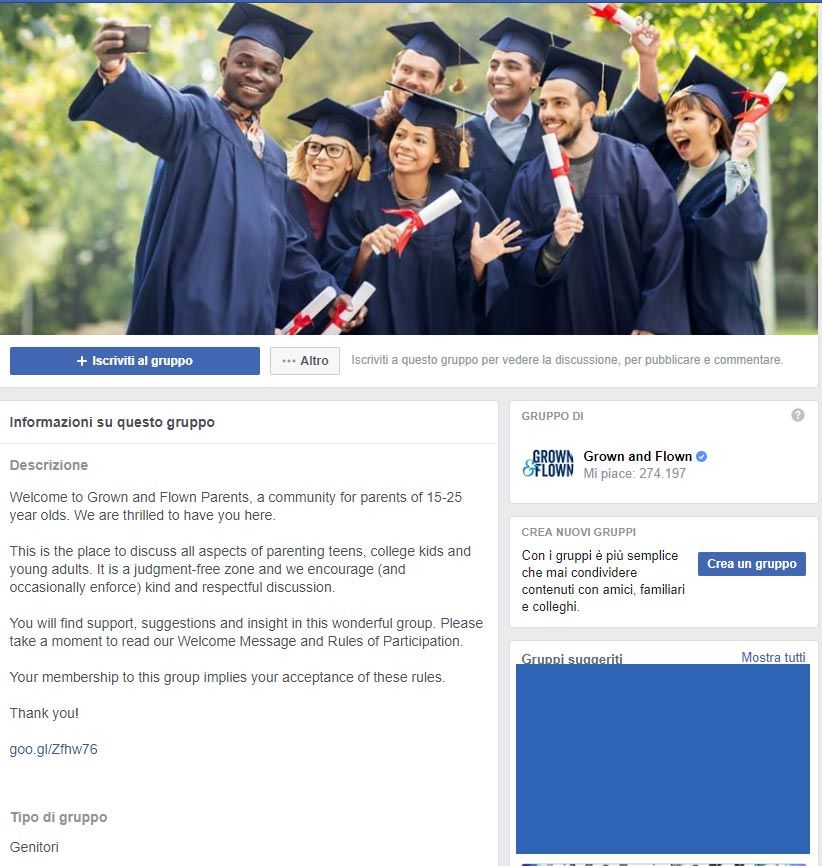 facebook gruppi abbonamento esempio