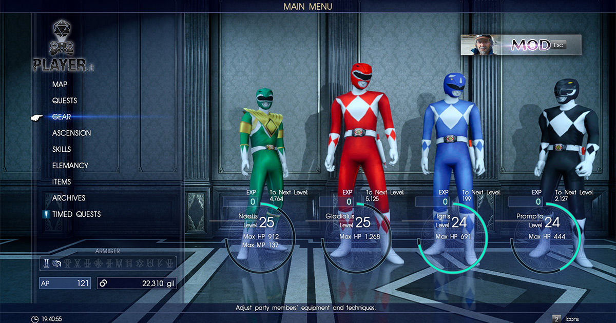final fantasy XV mod power rangers