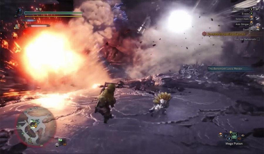 Guida - caccia - Behemoth - armatura - guida behemoth- caccia - MHW - Monster hunter world - FF - Final Fantasy XIV - collaborazione - collaboration - Meteor - Meteora