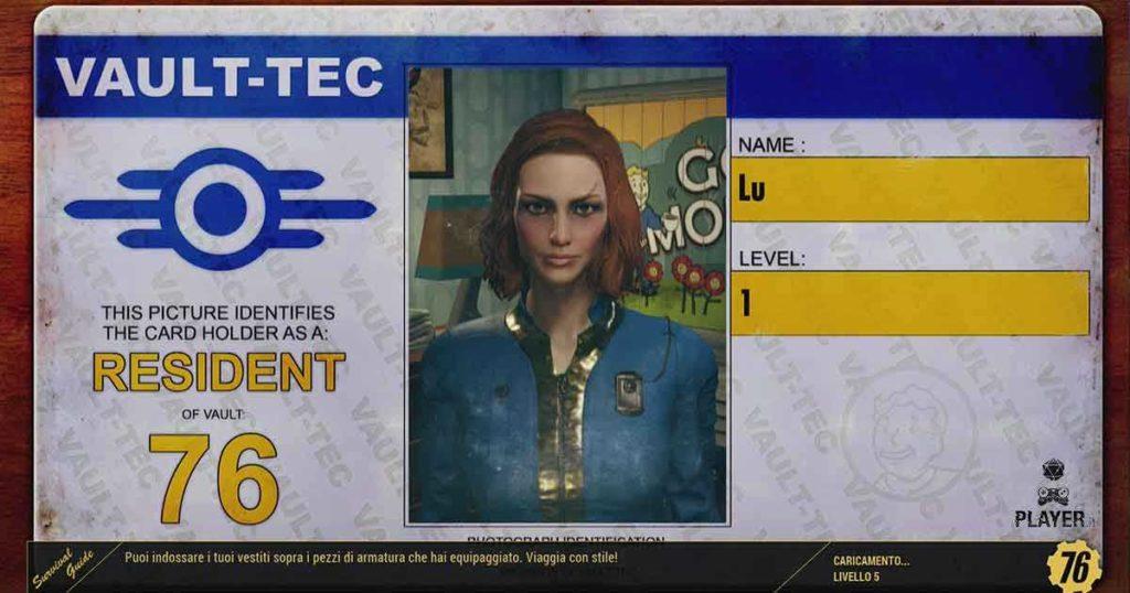 Fallout 76 creiamo il personaggio