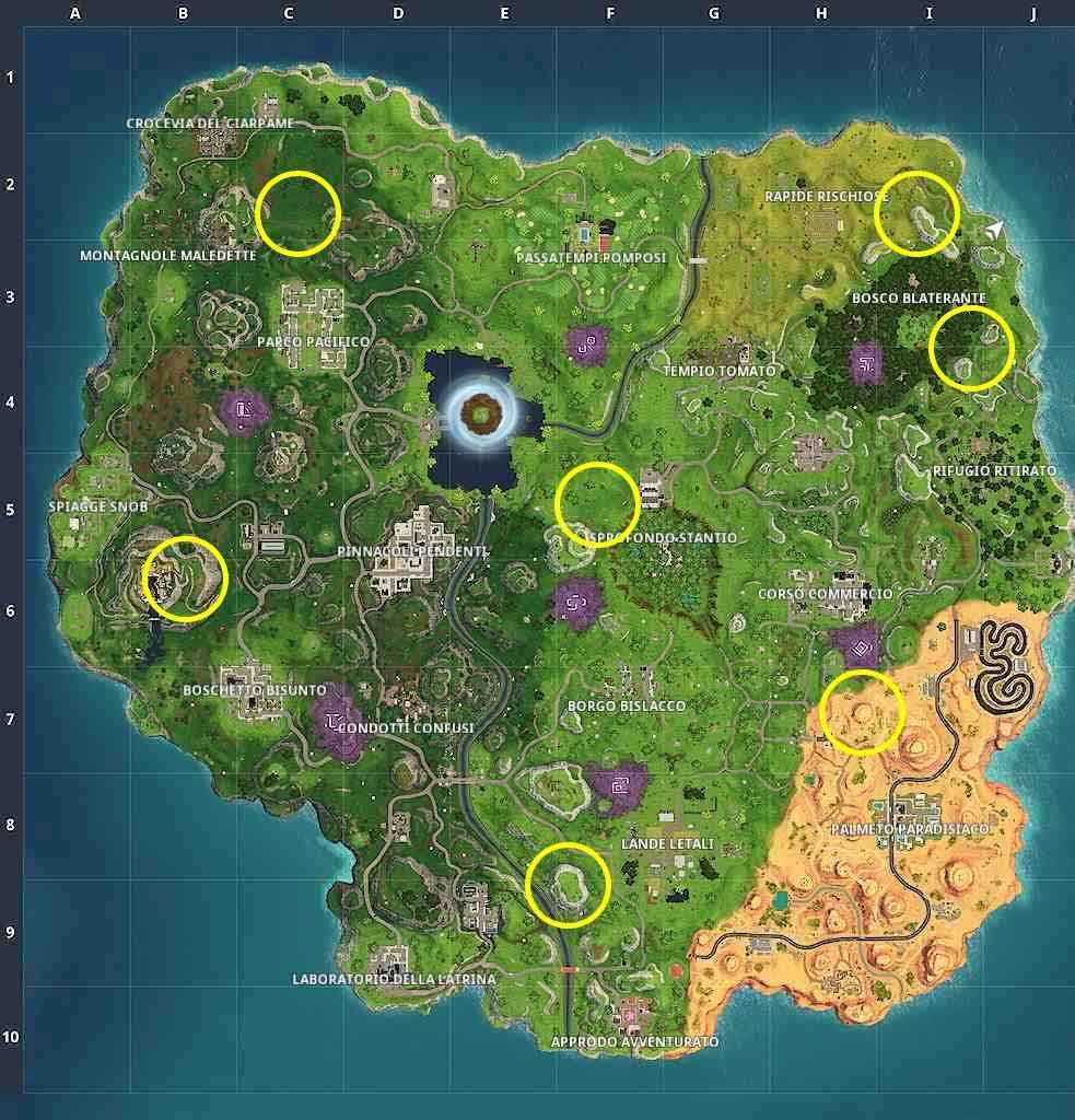 Fortnite Stagione 6 Settimana 4 mappa tirassegni