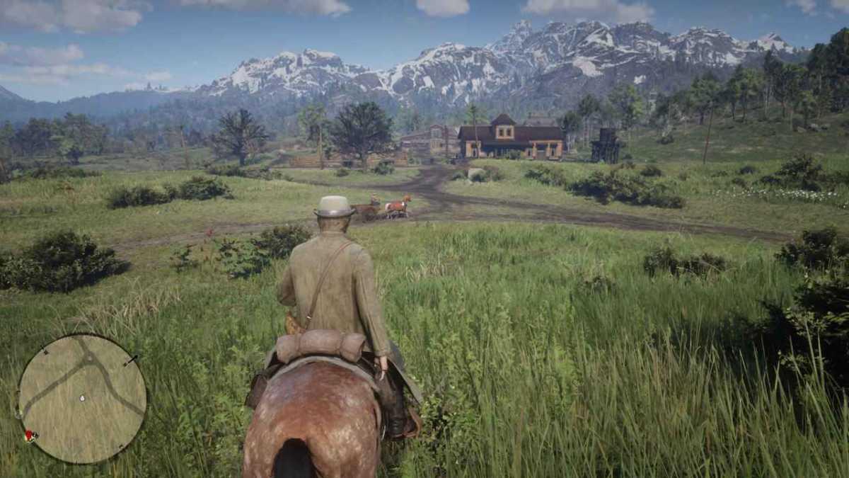 Red Dead Redemption 2 a cavallo paesaggio
