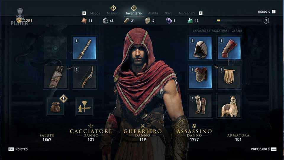 assassin's creed origins potenziamento personaggio