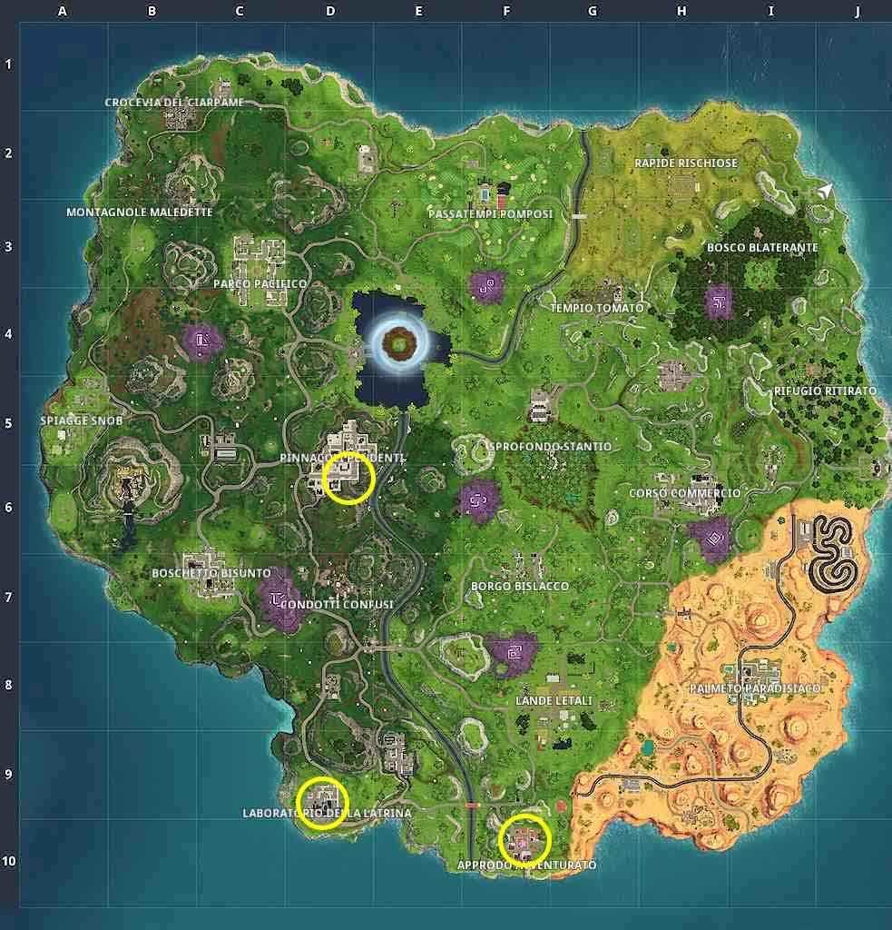 Fortnite Stagione 6 Settimana 4 mappa location