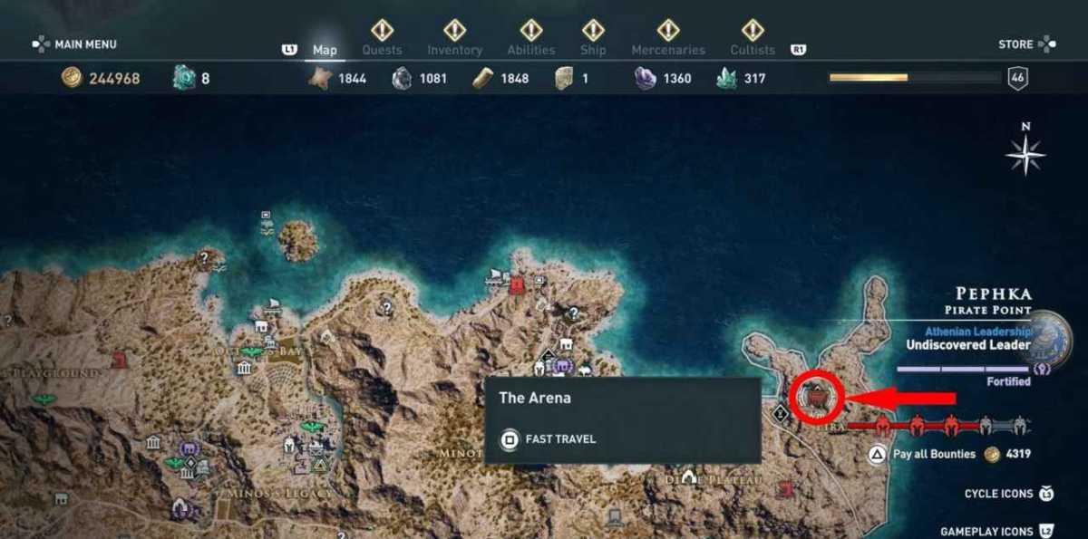 arena posizione assassin's creed: odyssey