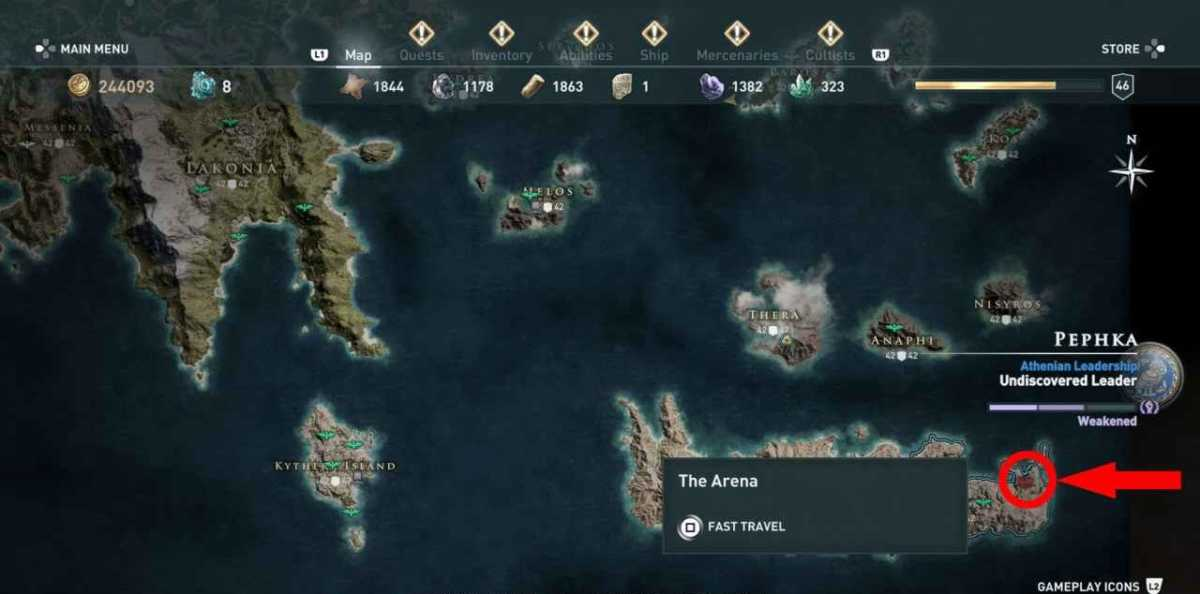 arena assassin's creed: odyssey