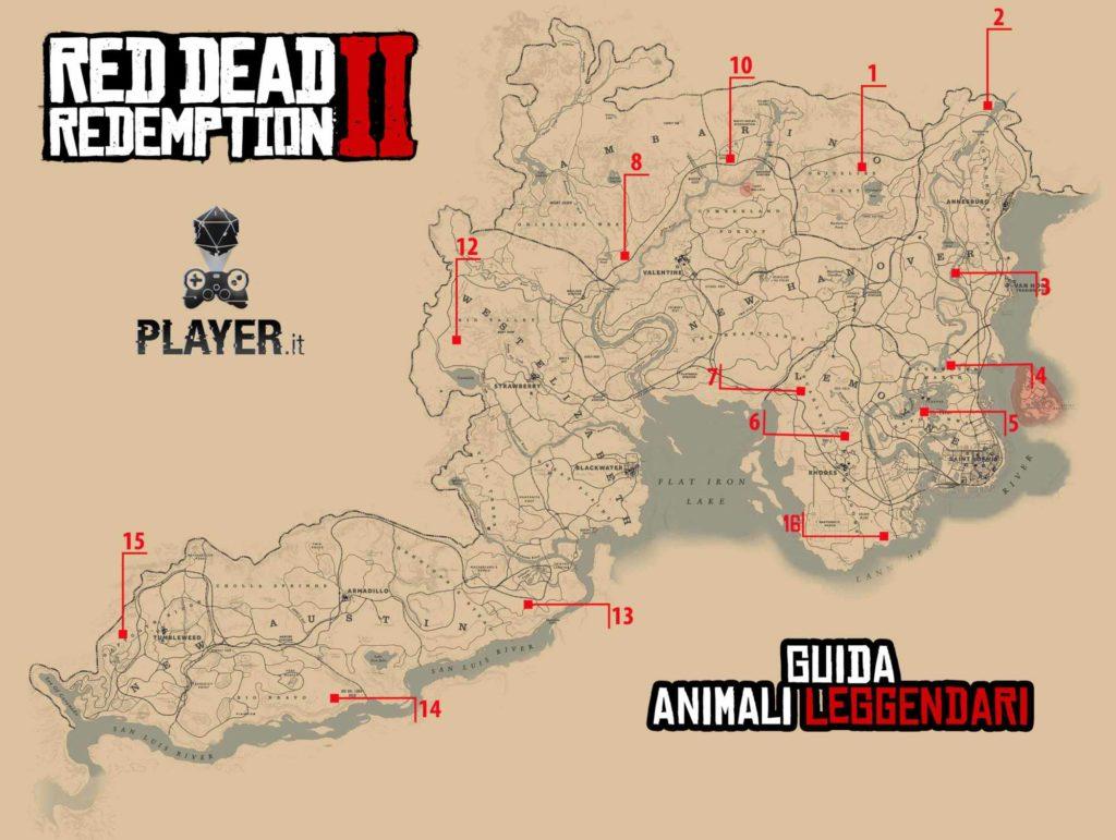 Red Dead Redemption 2 Mappa completa con la posizione degli animali leggendari