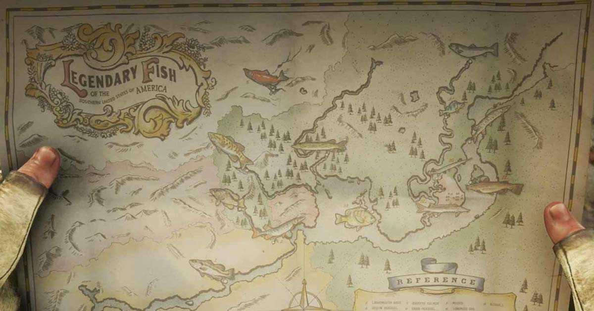 La mappa con la posizione di tutti i pesci leggendari di Red Dead Redemption 2