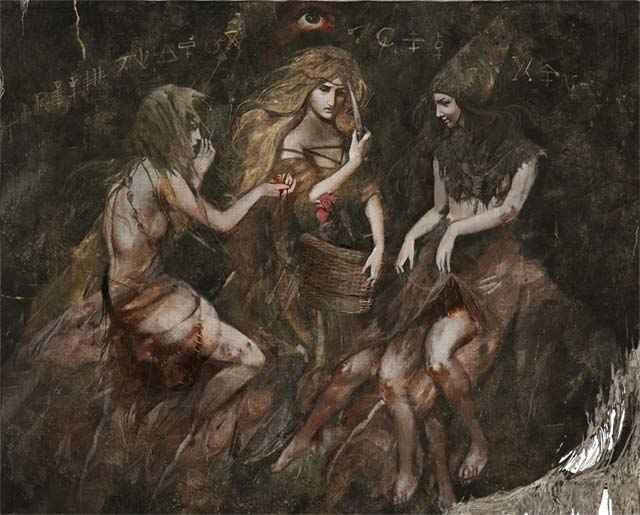 L'arazzo incantato delle Megere in The Witcher 3, l'aspetto illusorio delle Megere in The Witcher 3, l'arazzo delle Crones in The Witcher 3
