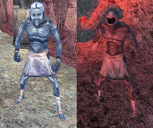 Schiavi delle Ceneri e Zombie delle Ceneri, Ash Slave in Morrowind, Ash Zombie in Morrowind, viso degli Ash Zombie di Morrowind, faccia degli Ash Zombie di Morrowind, occhi degli Ash Zombie in Morrowind, perché gli Ash Zombie non hanno occhi