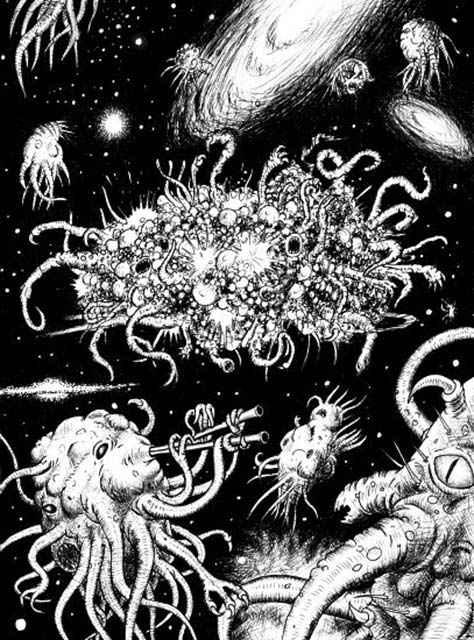 """Azathoth, """"il dio cieco che gorgoglia e bestemmia al centro dell'Universo""""."""