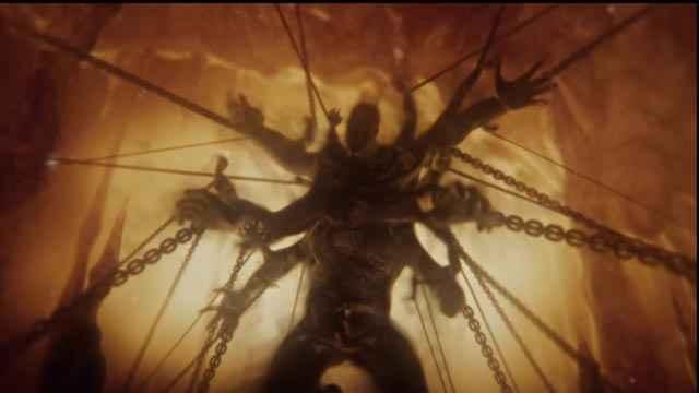Il Centimane Briareo imprigionato da Urano in God of War: Ascension