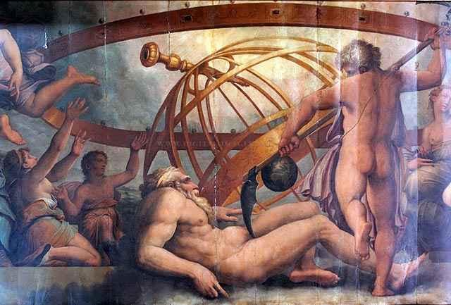 Nella mitologia greca Crono evira Urano con una falce