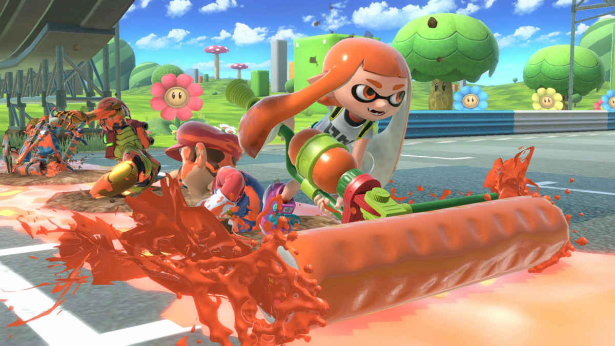 Inkling mentre usa una delle sue mosse su Super Smash Bros. Ultimate