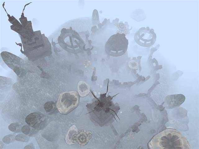 Rovine dei Daedra, città dei Daedra, nebbia in Morrowind, panorama horror in Morrowind, sfondo horror di Morrowind