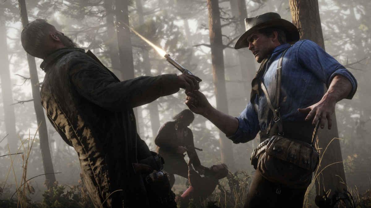 Arthur Morgan in una sparatoria screenshot di Red Dead Redemption 2