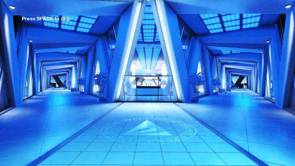 Un ambientazione dal colore blu all'interno di Mirror's Edge