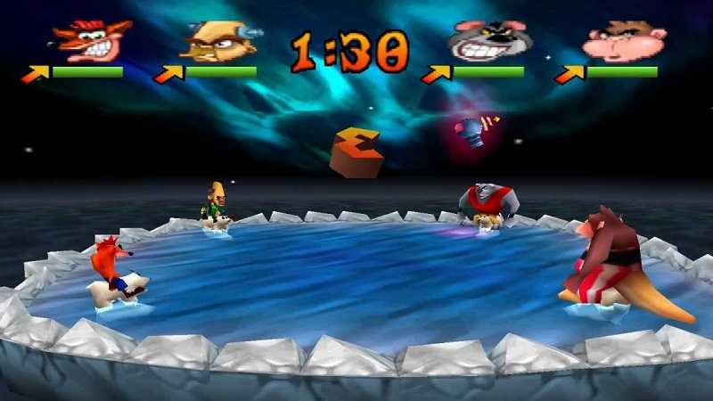 polar push, minigioco di crash bash