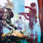 Artwork di Cyberpunk 2077 che ritrae una scena del crimine in mezzo alla città