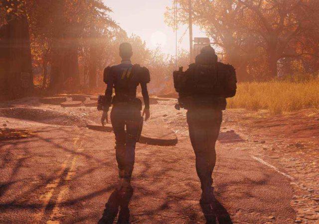 Fallout 76 cover image due persone camminano tramonto