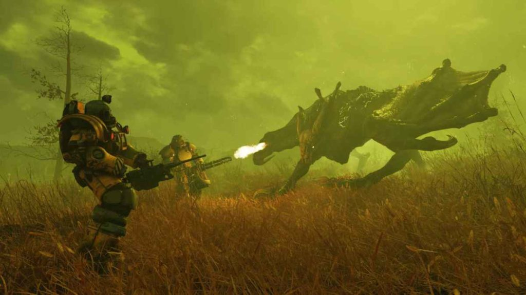 Combattimento con una specie di deathclaw in fallout 76