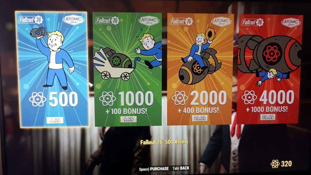 Fallout 76 schema atom shop microtransazioni