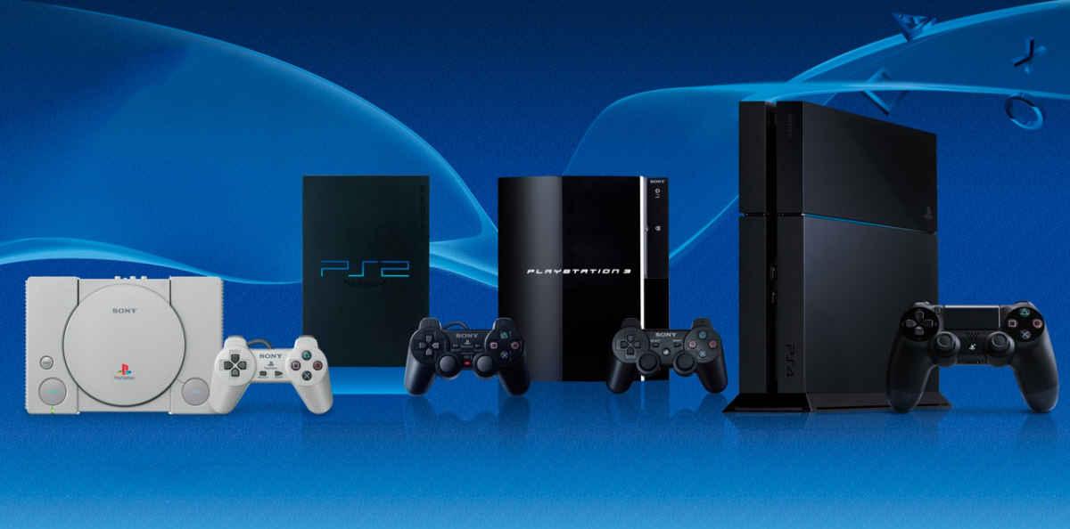 Playstation 1, 2, 3 e 4 in fila