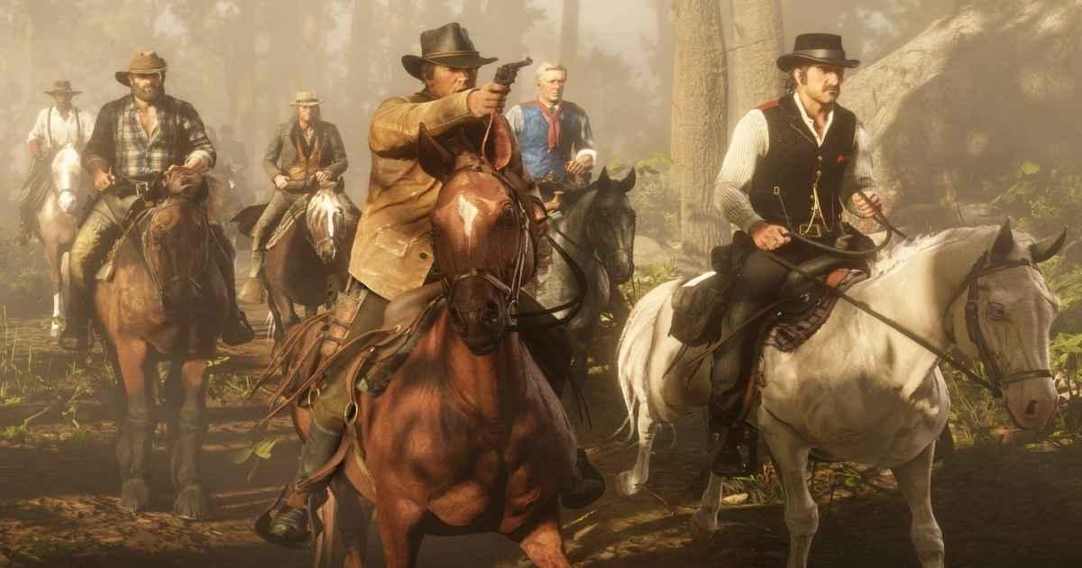 Screenshot Van Der Linde Gang che cavalca con armi alla mano