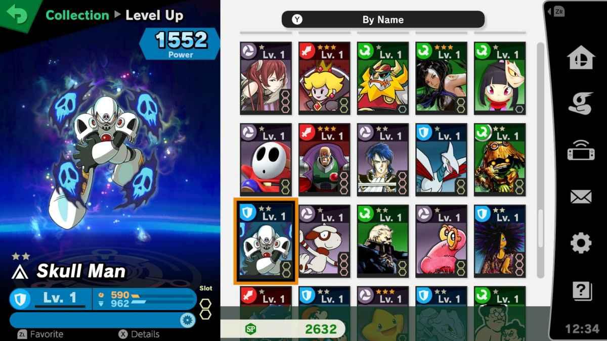 Schermata di selezione degli Spiriti in Super Smash Bros. Ultimate