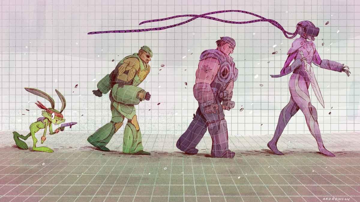 Immagine raffigurante le varie mascotte di Epic Games nel corso della sua storia