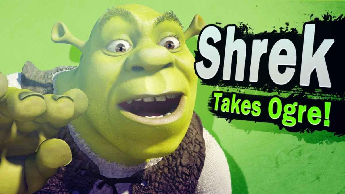 Meme che ritrae Shrek come personaggio giocabile in Super Smash Brothers Ultimate