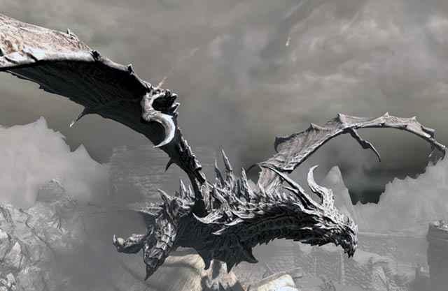 Un'apparizione del drago Alduin in Skyrim