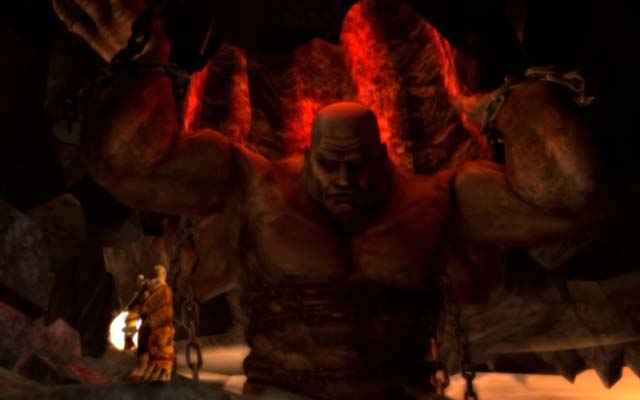 Atlante e Kratos in God of War: Chains of Olympus