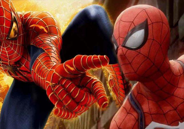 Fotomontaggio che mostra la tuta dello Spider-Man di Raimi affianco a quella di Insomniac