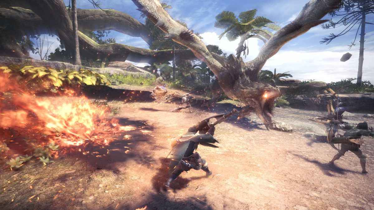 Screenshot da Monster Hunter World che ritrae una battuta di caccia alla Rathian