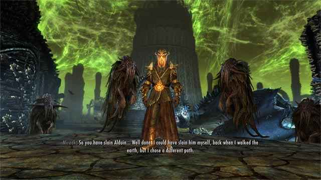 Un'apparizione di Miraak nel DLC Skyrim: Dragonborn