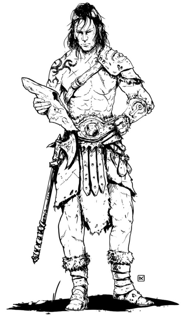 guerriero fantasy, immagine del manuale base del Monad System